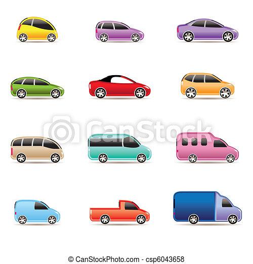 automobili, differente, tipi, icone - csp6043658