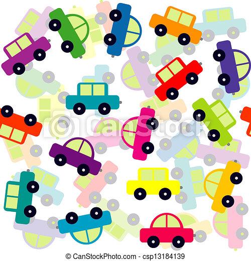 automobili, giocattolo, sfondo colorato, seamless - csp13184139