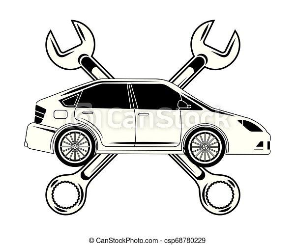 automotive iparág, keresztbe tett, ficam, autó, eszközök - csp68780229