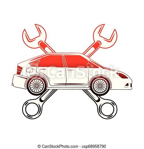 automotive iparág, keresztbe tett, ficam, autó, eszközök - csp68958790