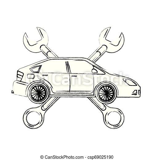 automotive iparág, keresztbe tett, ficam, autó, eszközök - csp69025190