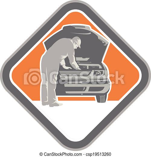 Automotive Mechanic Car Repair Woodcut - csp19513260