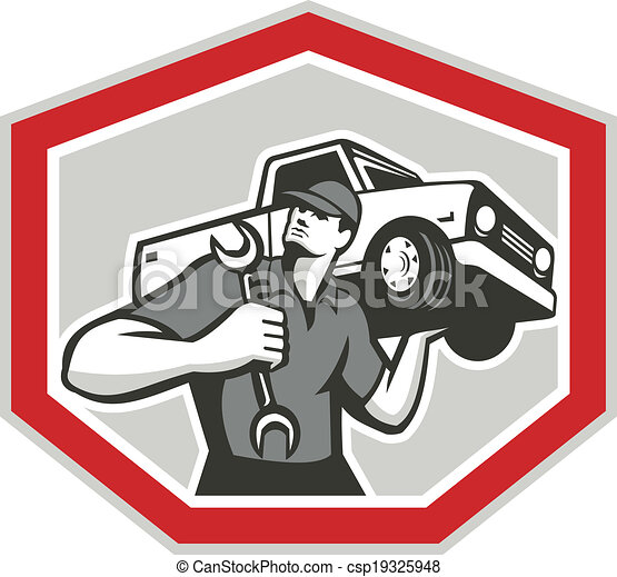 Automotive Mechanic Carrying Pick-Up Truck - csp19325948