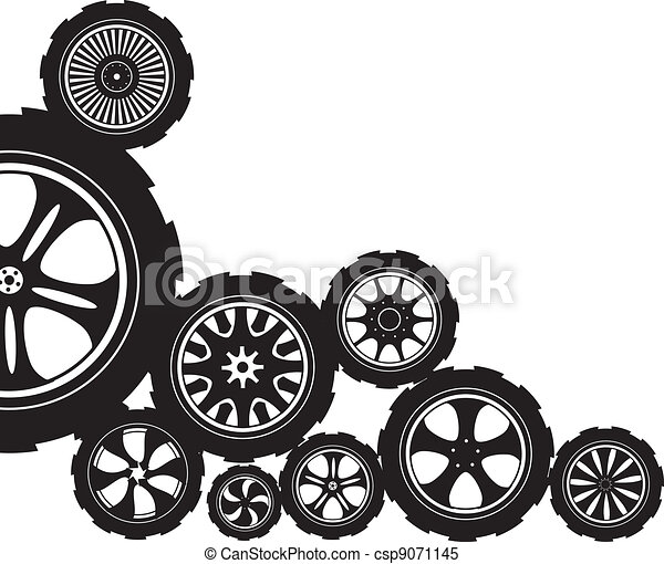 black silhouette automotive wheel with alloy wheels and clipart rh canstockphoto com automotive clip art free automobile clip art pictures
