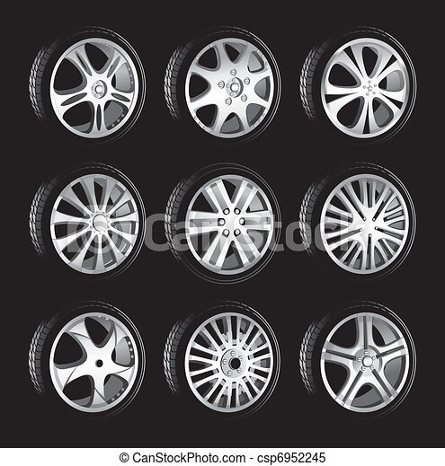 automotive wheel with alloy wheels and low profile tires  - csp6952245