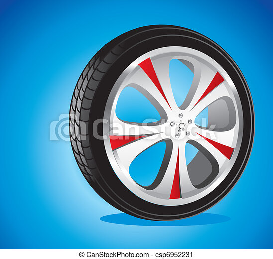 automotive wheel with alloy wheels and low profile tires - csp6952231