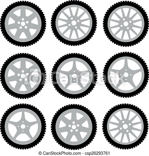 automotive wheel with alloy wheels. Vector illustration - csp26293761