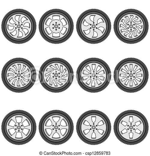 automotive wheel with alloy wheels, vector illustration - csp12859783
