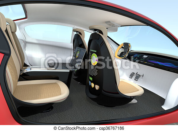Autonomous Car Interior Concept Backrest Equip With Lcd