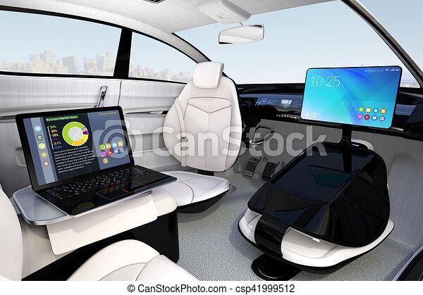 autonomous car interior design concept for new business clipart search illustration. Black Bedroom Furniture Sets. Home Design Ideas