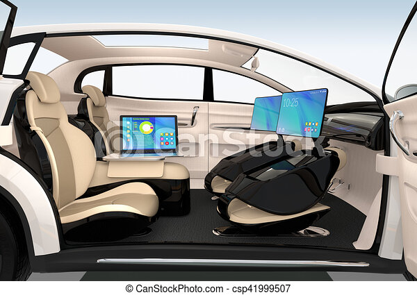 autonomous car interior design concept for new business work style when moving on the road 3d. Black Bedroom Furniture Sets. Home Design Ideas