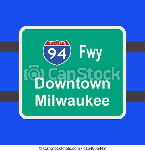 Freeway a Milwaukee sign - csp4005442