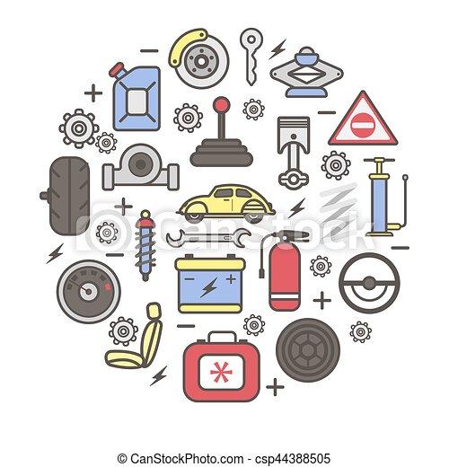 Autoteile, vektor, ersatzteil, details, plakat. Stecker, pumpe ...