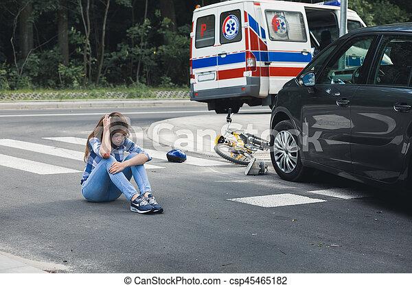Autounfälle, opfer, betäubt. Absturz, sitzen, auto, betäubt ...
