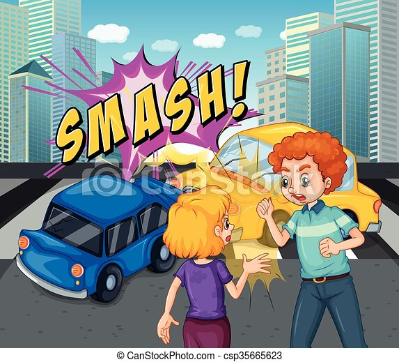 Autounfall, absturz, szene, abbildung Vektor Illustration - Suche ...