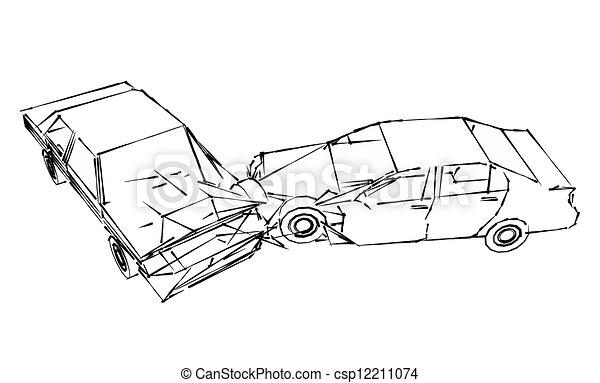 Autounfall. Absturz, auto, skizze, unglück.
