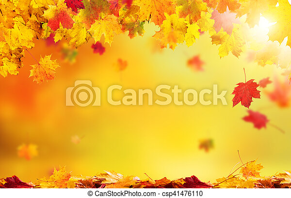 Autumn abstract background with falling leaves - csp41476110