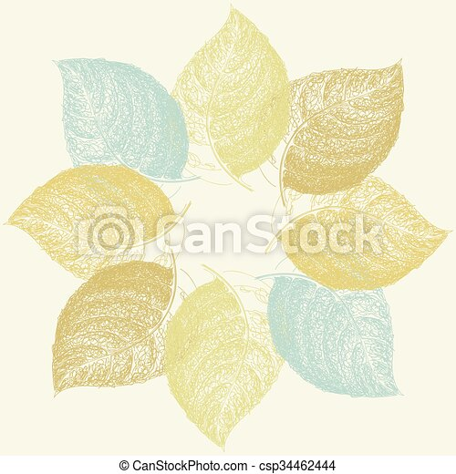 Autumn abstract floral leaf background with place for your text - csp34462444