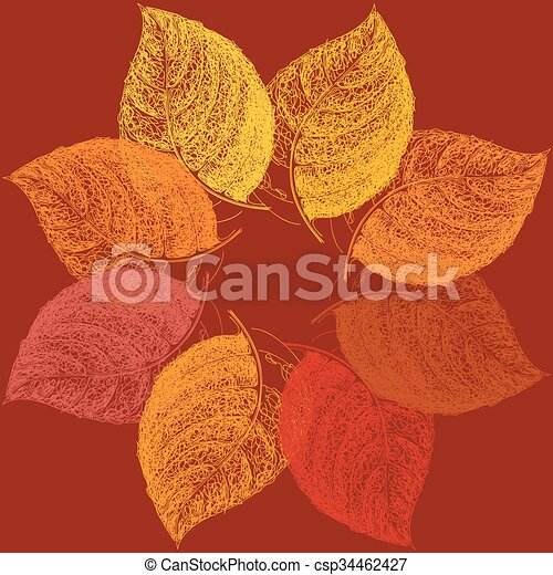 Autumn abstract floral leaf background with place for your text - csp34462427