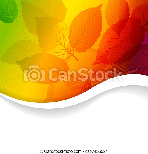 Autumn abstract rainbow floral background - csp7456524