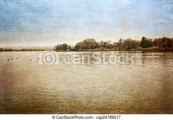 Autumn at lake Chiemsee, Germany, textured - csp24789517