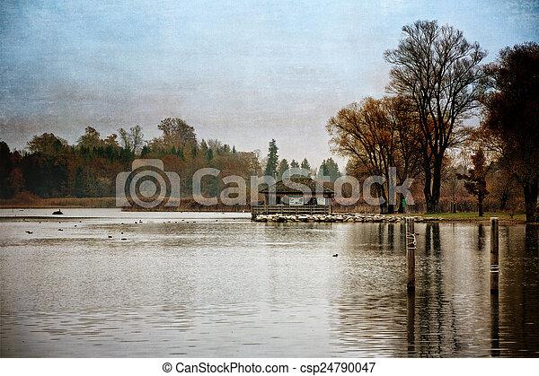 Autumn at lake Chiemsee, Germany, textured - csp24790047