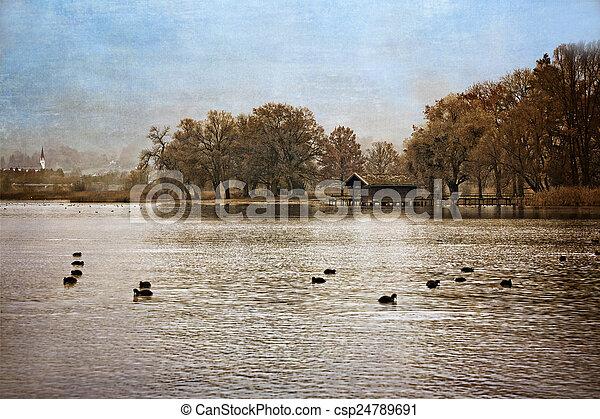 Autumn at lake Chiemsee, Germany, textured - csp24789691