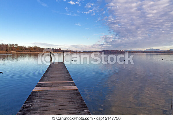 Autumn at lake Chiemsee in Bavaria, Germany - csp15147756