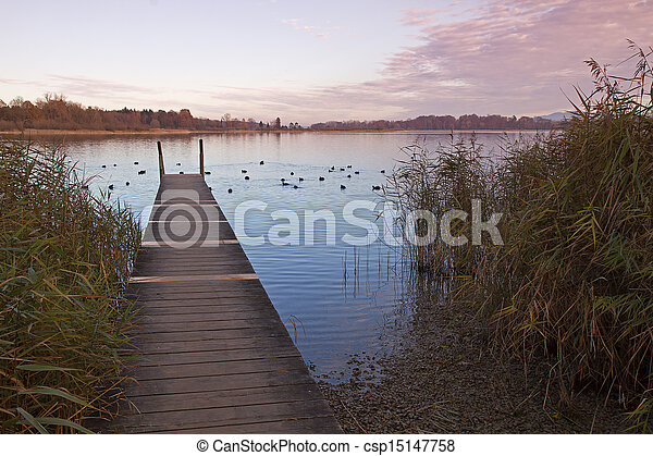 Autumn at lake Chiemsee in Bavaria, Germany - csp15147758