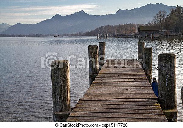 Autumn at lake Chiemsee in Bavaria, Germany - csp15147726