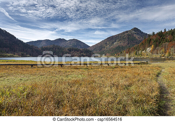 """Autumn at lake """"Mittersee"""" in Bavaria, Germany - csp16564516"""