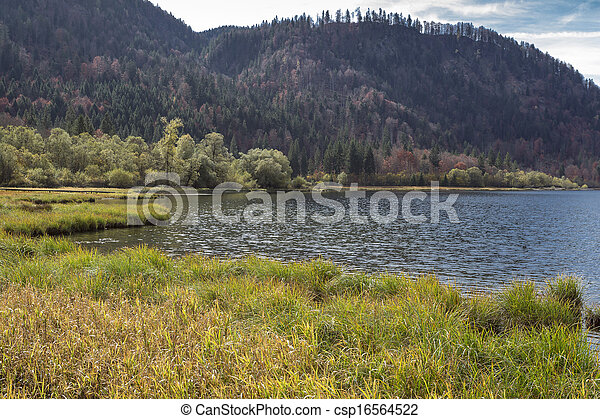 """Autumn at lake """"Mittersee"""" in Bavaria, Germany - csp16564522"""