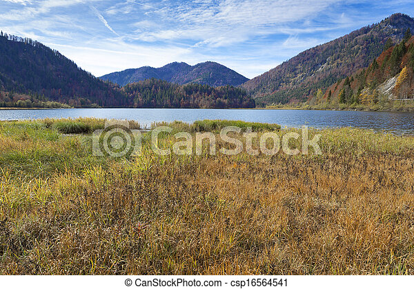 """Autumn at lake """"Mittersee"""" in Bavaria, Germany - csp16564541"""