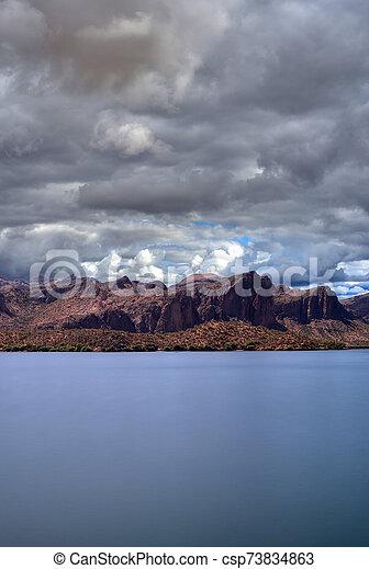 Autumn at Saguaro lake in Arizona - csp73834863