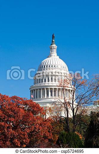 Autumn at the U.S. Capital Building Washington DC Red Leaves - csp5724695