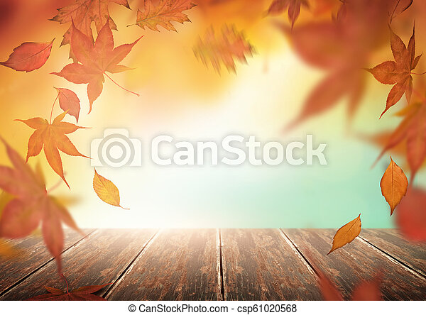 Autumn Backdrop with Falling Leaves - csp61020568
