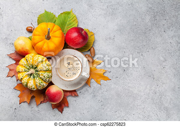 Autumn backdrop with pumpkins and fruits - csp62275823