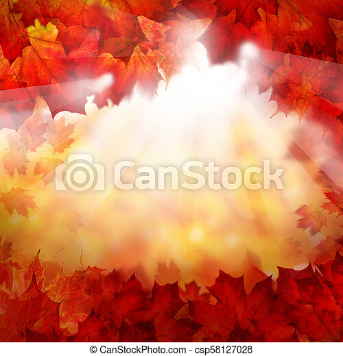 Autumn Background of Fall Maple Leaves. Autumn Border with Sunlight - csp58127028