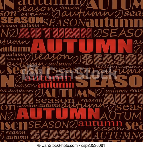 autumn background. seamless vector pattern with words - csp23536081