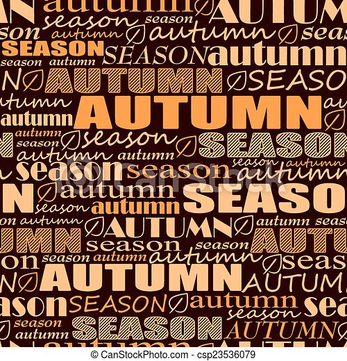 autumn background. seamless vector pattern with words - csp23536079