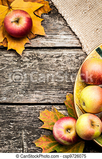 Autumn background with apples - csp9726075