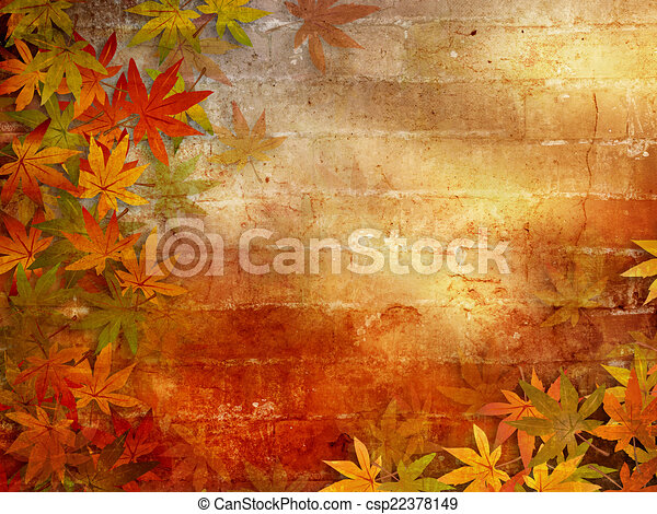 Autumn background with fall leaves - csp22378149