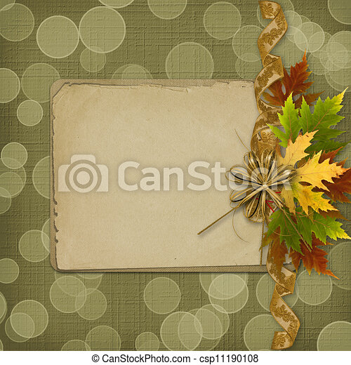 Autumn background with foliage and grunge papers design in scrapbooking style - csp11190108