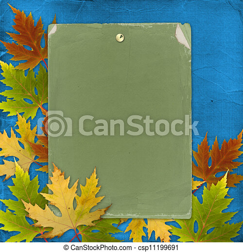 Autumn background with foliage and grunge papers design in scrapbooking style - csp11199691