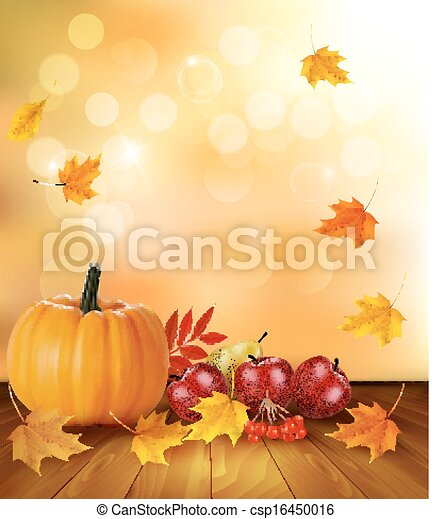 Autumn background with fresh fruit and leaves. Healthy Food. Vector illustration  - csp16450016