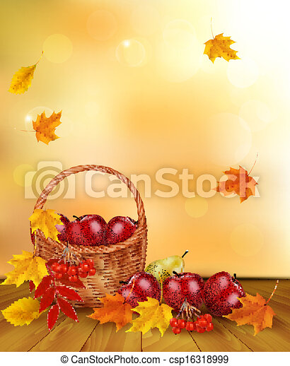 Autumn background with fresh fruit in basket. Healthy Food. Vector illustration - csp16318999