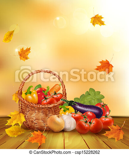 Autumn background with fresh vegetables in basket. Healthy Food. Vector illustration - csp15228262