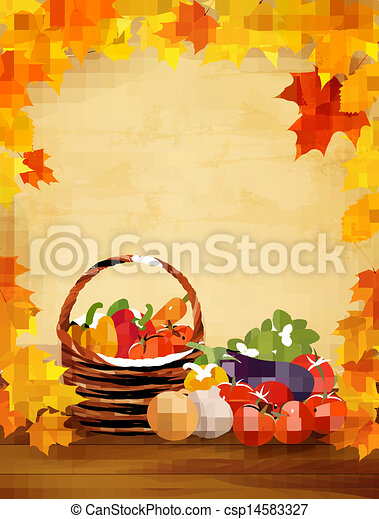 Autumn background with fresh vegetables in basket. Healthy Food. Vector illustration - csp14583327