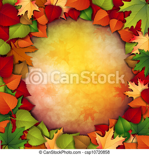 Autumn background with leaves - csp10720858