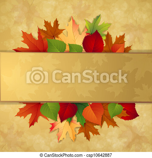 Autumn background with leaves  - csp10642887